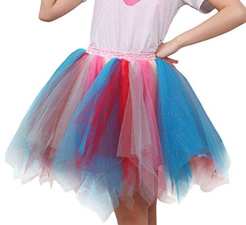 Costume Multicolore Bal Jupon 34 Femme Tulle Ballet 36 42 Couleur Princesse jupe dentelle Tutu Soire Jupe Danse optique pour Dguisement Courte Mini 38 Bouffe Elastique 40 Pliss FEOYA 5 44 Cosplay en ExAq0wS