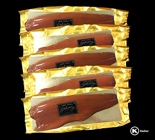(16.0 Lb. New York's delicacy, Most Awarded,Non-Sliced Whole Smoked Salmon Nova Fillets. (5 Fillets))