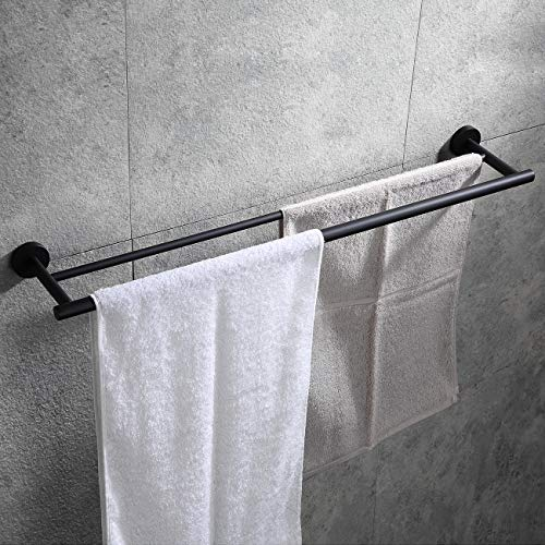 Hoooh Double Bath Towel Bar, 30-Inch Matte Black Stainless Steel Hand Towel Rack for Bathroom, A102L75-BK