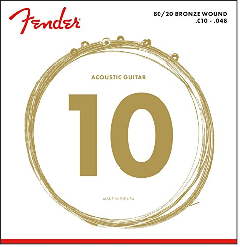 Fender 70XL 80/20 Bronze Acoustic Guitar Strings, Ball End, Extra Light 10-48 ()