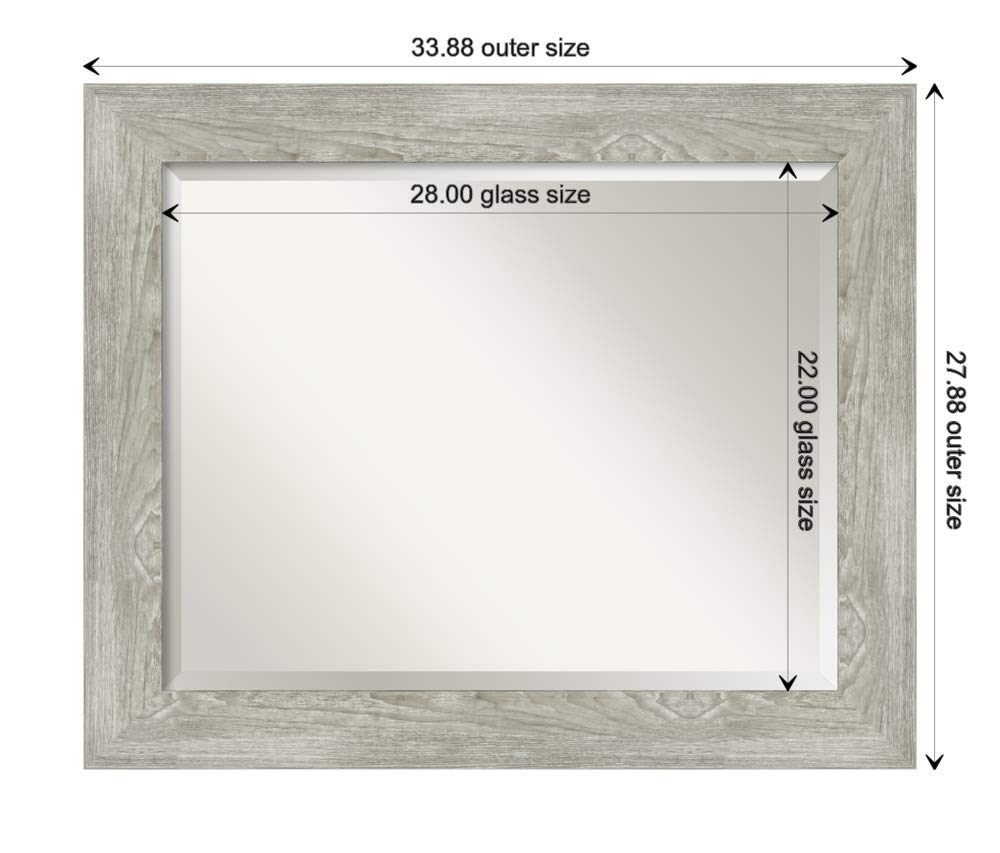 Amanti Art Framed Vanity Mirror | Bathroom Mirrors for Wall | Dove Greywash Mirror | Wall Mounted Mirror | Medium Mirror | 27.88 x 33.88 by Amanti Art