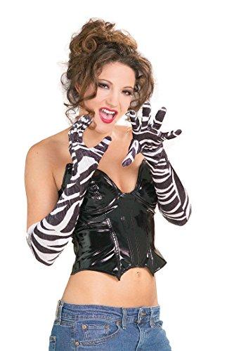 Rubie's Costume Co Long Zebra Velvet Gloves - Velvet Rubies Glove