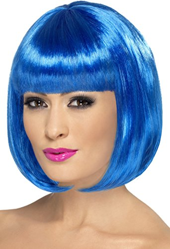 Smiffy's Women's 12inch Short Blue Bob Wig with Bangs, One Size, 5020570424001 (Halloween Wigs)