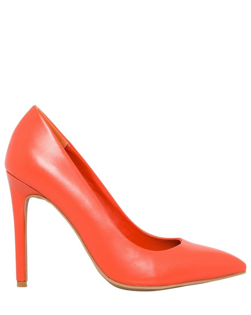 LE CHÂTEAU Women's Leather-Like Pointy Toe High Heel Pump,6,Orange