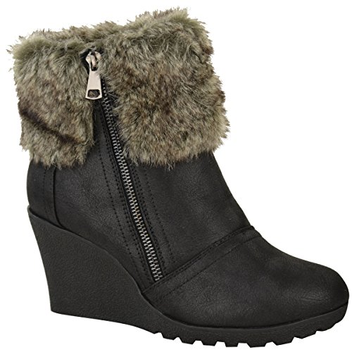 [Fashion Thirsty Womens Winter Faux Fur Wedge Platform Ankle Boots Zip Fluffy Lined Shoes Size 7] (Furry Boots Cheap)
