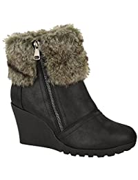 Fashion Thirsty Womens Winter Faux Fur Wedge Platform Ankle Boots Zip Fluffy Lined Shoes Size