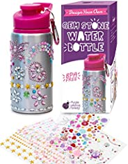 Purple Ladybug Decorate Your Own Water Bottle for Girls with Tons of Rhinestone Glitter Gem Stickers - BPA Fre