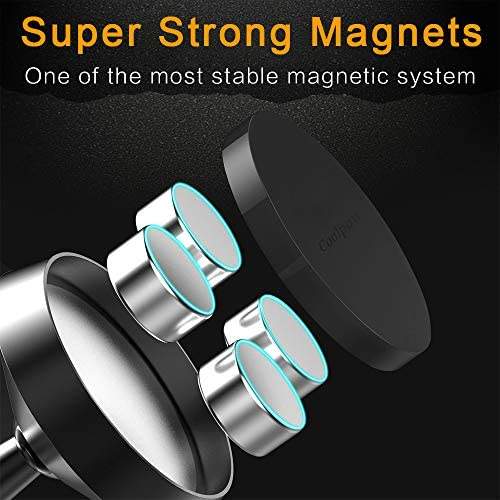 [ 2 Pack ] Magnetic Phone Mount, [ Super Strong Magnet ] [ with 4 Metal Plate ] car Magnetic Phone Holder, [ 360° Rotation ] Universal Dashboard car Mount Fits iPhone Samsung etc Most Smartphones 51fcQgkz3EL