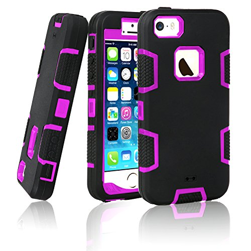iPhone 5S Case, EC™ 3in1 Shock Absorbing Case, Rubber Combo Hybrid Impact Silicone Armor Hard Case Cover for Apple iPhone 5S (C-Purple/Black)