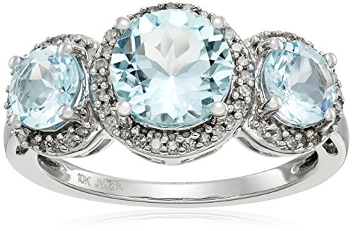 10k White Gold Round Aquamarine With White Diamond 3 Stone Fashion Ring