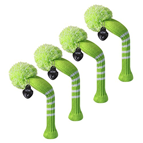 Scott Edward Golf Hybrid/Utilities Club Head Covers, 4 Pieces Packed, Stripes Knitted, Acrylic Yarn Double-Layers Knitted, with Rotatable Number Tags, 9 Colors Optional (Lemon Green)