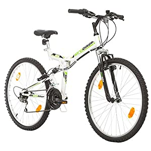 Multibrand, FOLDING FSP 26, 26 inch, 457mm, Folding Mountain Bike, 18 speed, Fully Suspention, Unisex, Front+Rear Mudgard, White Gloss Black Blue Green Red (Black-Red, 18 inch)