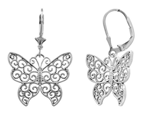 Sterling Filigree Butterfly Leverback Earrings