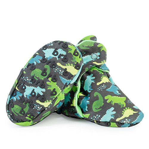 Lightweight Organic Cotton Baby Booties - Grippers, 3 Snaps - No Sock Bootie for Newborn Or Infant Boys & Girls (Dinos, US 4)