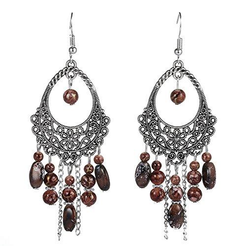 Women's Vintage Ethnic Boho Tassel Long Drop Dangle Earrings Brown XF04