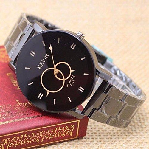 HULKY - Reloj de pulsera para mujer, diseño de correa de acero inoxidable, esfera redonda, correa de acero, cuarzo, color negro: Amazon.es: Iluminación