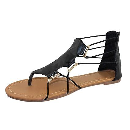 1d9744c47a45 LEERYAAY Fashion Women Summer s Retro Round Toe Flat Platform Shoes Cross  Strap Sandals