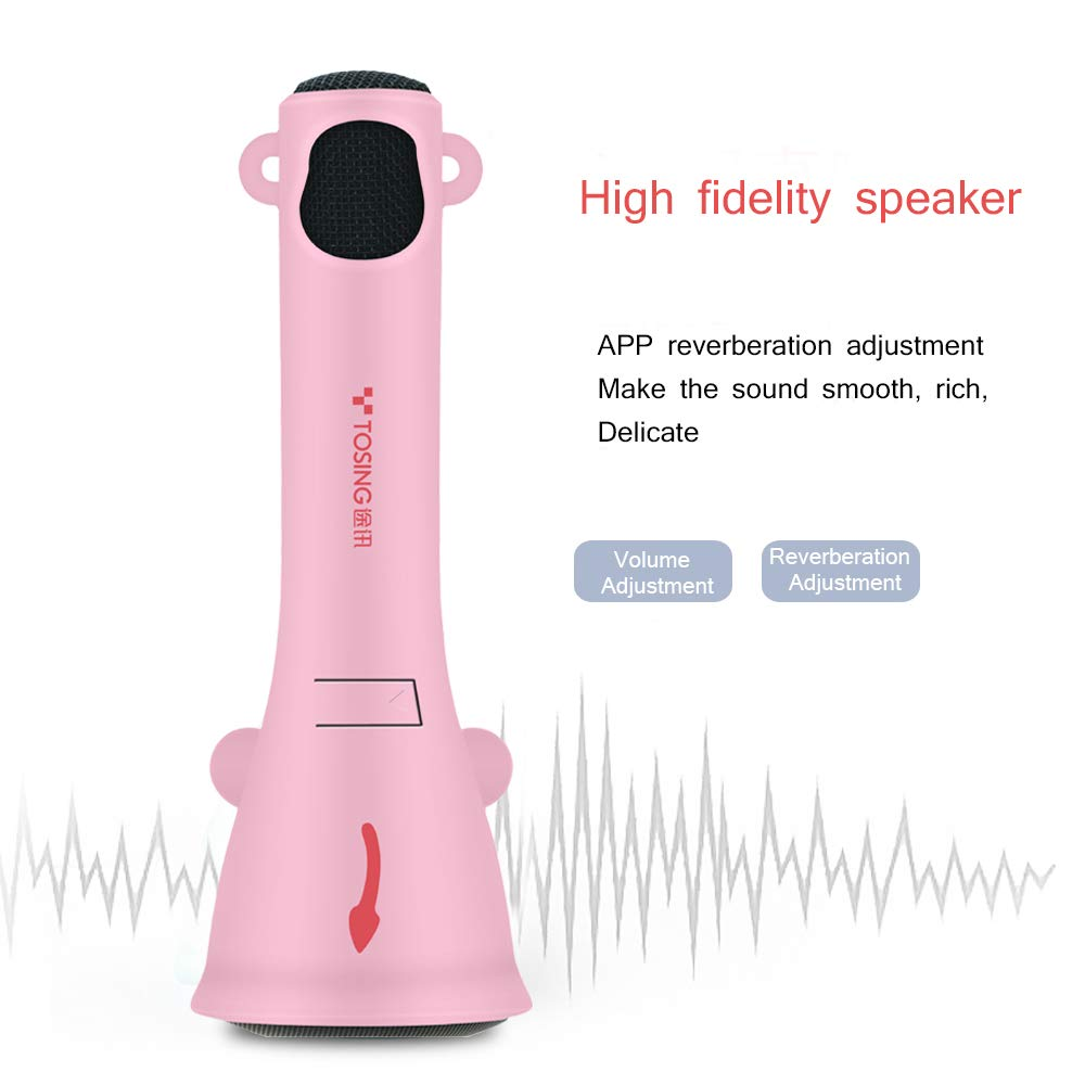 TOSING Kids Wireless Karaoke Microphone Bluetooth Speaker 2 in 1 for Children Girls Toddlers Best Top Toys,Bluetooth Handheld Singing Machine Creative Baby Gift For Birthday and Festival(Pink) by TOSING (Image #3)