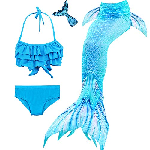 Danvren 3Pcs Mermaid Tails for Girls Swimming Swimsuit Party Supplies Costume Swimwear Bikini for 3-12Y  (Crystal Blue Design, Child XXL Height 55-60in - Design Tail