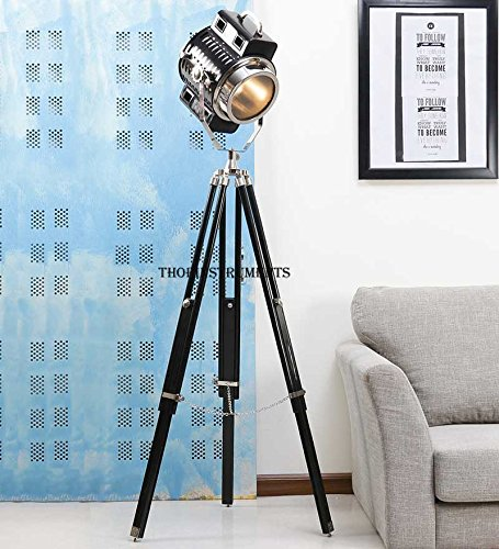 Hollywood Spotlight Searchlight Wooden Tripod Floor Lamp Light Home Decor by THORINSTRUMENTS