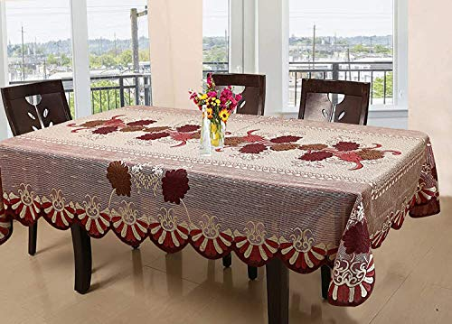 SUPERMACY Floral Cotton Fabric 2 to 4 Seater Dining Table Cover – Maroon 40×60 inches