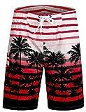 APTRO Men's Swim Trunks Palm Tree Printing Bathing Suit 1525 Red 3XL