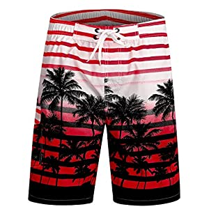 APTRO Men's Quick Dry Swim Trunks Long Palm Beach Board Shorts Bathing Suit