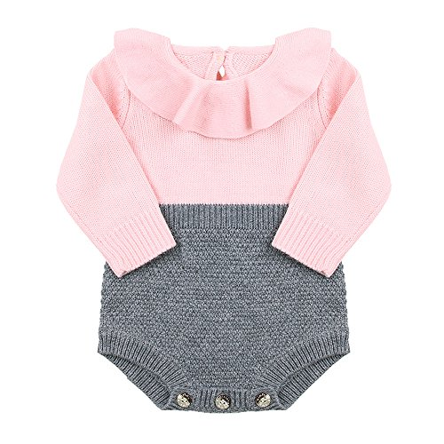 s Casual Long Sleeve Romper Princess Knit Sweater Jumpsuit Dress Pink (12-18M) (Baby Girl Pink Knit Sweater)