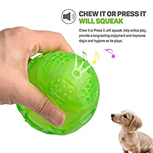ACEONE Pelota Perro Impermeable Bola Inflable Goma Juguete de Goma, Squeaker Squeeze Pet Ball Juguetes, Interactiva para Perros Traning (3 Piezas)