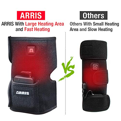 Heating Knee Pad, ARRIS Heated Knee Wrap/Electric Heat Knee Brace w/7.4V Lipo Battery Warm Therapy for Joint Pain, Arthritis Meniscus Pain Relief for Men and Women (1PCS)