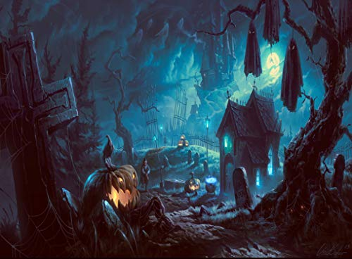 (GoodsFederation 7x5ft Halloween Photographic Backdrop Pumpkin & Horror Nights & Mysterious Forest Castle & Hallowmas Party Masquerade Decor Photo Background Photobooth Studio Props WSJ-149)