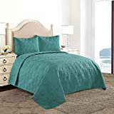 quilts in blue - HollyHOME Snowflake Quilt Set Collection, Solid Lightweight Hypoallergenic Microfiber, 3 Pieces King Size Quilt, Turquoise Blue