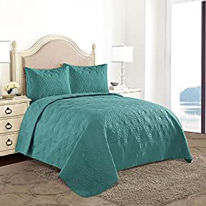 HollyHOME Snowflake Quilt Set Collection, Solid Lightweight Hypoallergenic Microfiber, 3 Pieces King Size Quilt, Turquoise Blue
