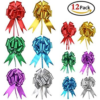 """Christmas Bows for Presents, Holody Pull Bows and Ribbons Bulk for Xmas Gifts Wrapping Wreaths Decoration Assorted Colors Large and Small, 5"""" and 7"""", Set of 12"""