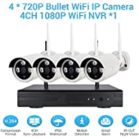 Wireless Camera Security System 1080p 4CH HDMI NVR + 4 Pcs 720P(1.0MP) WiFi CCTV Bullet Cameras HD Night Vision Surveillance Outdoor Indoor Waterproof Easy Remote Access Night Vision
