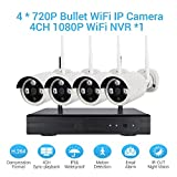 Wireless-Camera-Security-System-1080p-4CH-HDMI-NVR-4-Pcs-720P10MP-WiFi-CCTV-Bullet-Cameras-HD-Night-Vision-Surveillance-Outdoor-Indoor-Waterproof-Easy-Remote-Access-Night-Vision