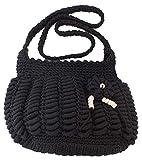 Fashion Women Handmade Bag Luxury Black Stitch Shoulder Purse Crochet Knit