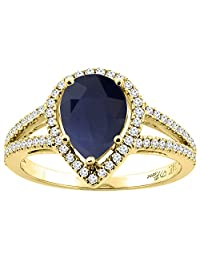 14K Gold Natural Diffused Ceylon Sapphire Ring Pear Shape 9x7 mm Diamond Accents, sizes 5 - 10