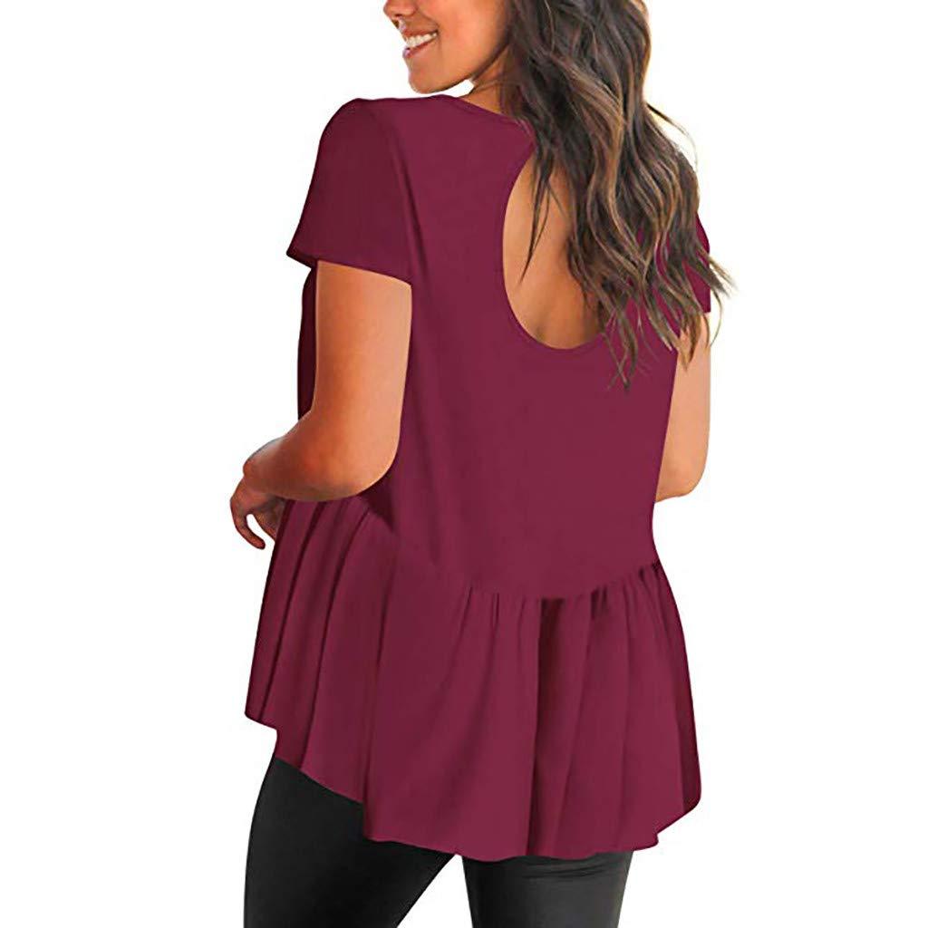 GridNN Women Summer Creative Blouse Womens Ladies Short Sleeve Solid O-Neck Blouse Shirt Pullover Tops