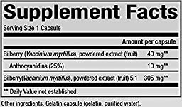 Natural Factors - HerbalFactors Bilberry, Nutritional Support for Vision, 60 Capsules
