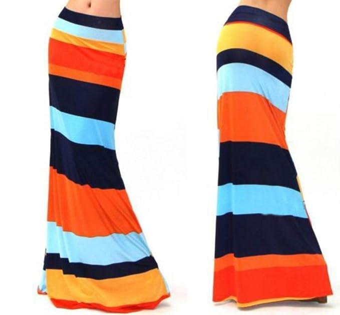 HEHEAB Falda,Naranja Negro Moda Mujer Plus Size Piso-Longitud con ...