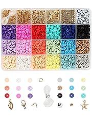 Colcolo 1 Doos Platte Polymeer Klei Kralen Losse Hanger Ringetjes Elastische Snaren voor DIY Armbanden Sieraden Maken Handgemaakt Vinden Ambachten