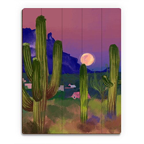Tall Desert Saguaro Cactus and Purple Mountains  Full Moon