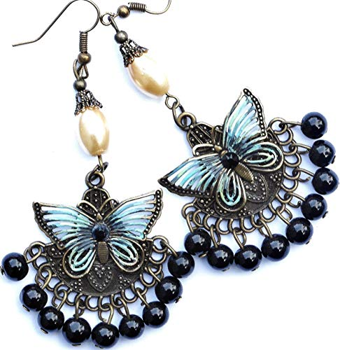 (Romantic Vintage Style Antiqued Gold Painted Butterfly Victorian Boho Long Chandelier Dangle)