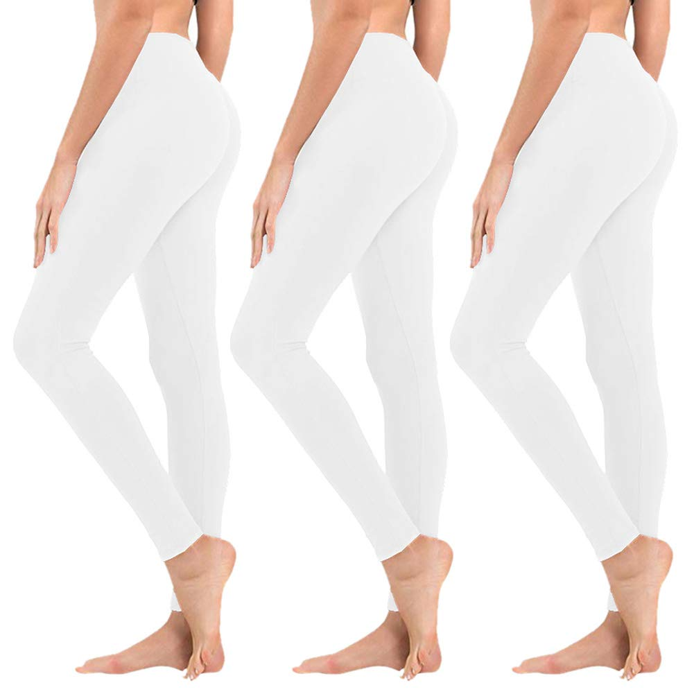High Waisted Leggings for Women - Soft Athletic Tummy Control Pants for Running Cycling Yoga Workout - Reg & Plus Size (3 Pack White, One Size (US 2-12)) by SYRINX