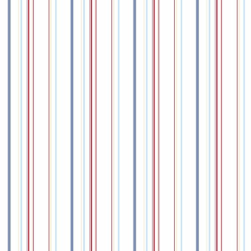 York Wallcoverings KS2450 Brothers and Sisters V Wide Multi Stripes Wallpaper, White/Blue/Red/Beige