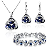 Blue Simulated Sapphire Zirconia Crystals Set Pendant Necklace 18'' Earrings Bracelet 18 ct White Gold Plated