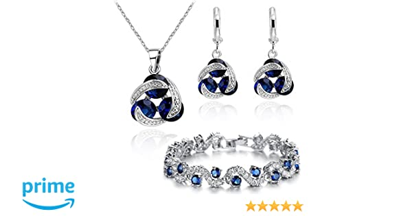 693b98384 Amazon.com  Blue Simulated Sapphire Zirconia Crystals Set Pendant Necklace  18