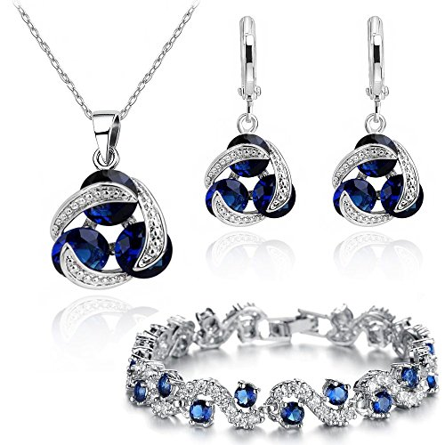 Blue Simulated Sapphire Zirconia Crystals Jewelry Set Pendant Necklace 18