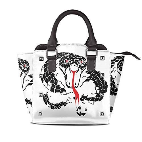 (JNRJNLFR Handle Bag Whitesnake Leather Rivet Shoulder Bag For Women And Girls)